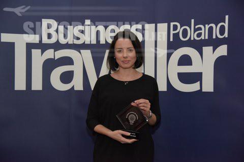 Małgorzata Kozieł odbiera nagrodę Business Traveller Poland