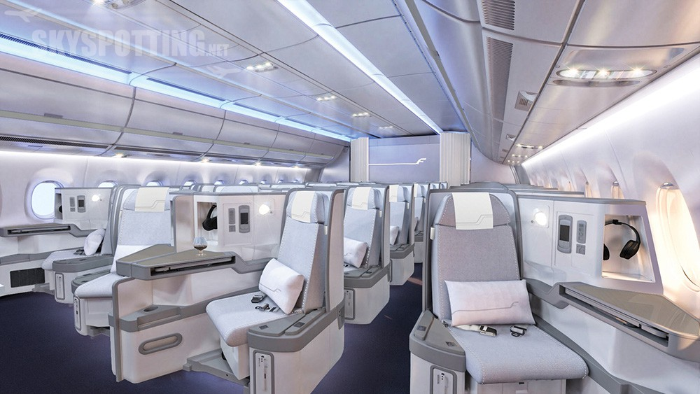 Finnair A350 XWB Business Class Cabin 01 cruise LR