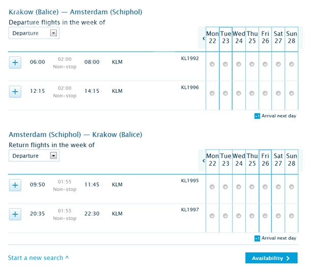 Nowy rozkład KLM od 15.02.2016