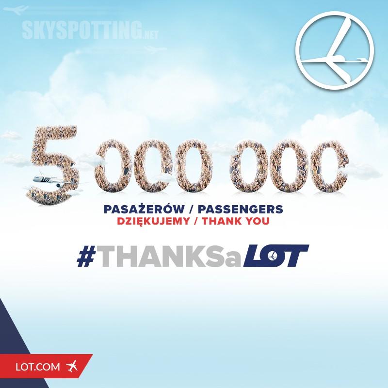 LOT pobił rekord przewożąc na pokładach swoich samolotów aż 5 milionów pasażerów w ciągu tego roku!
