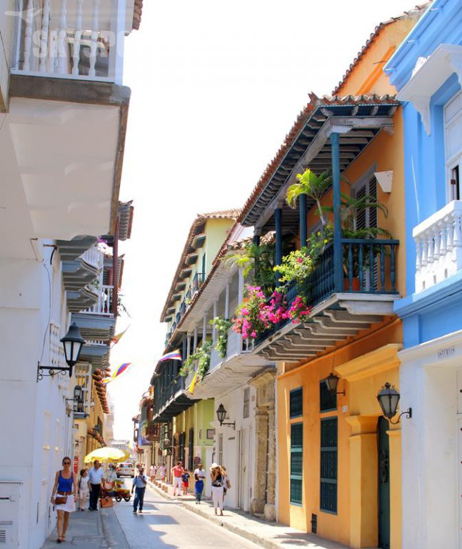 View of balconies in Cartagena, Colombia city centre