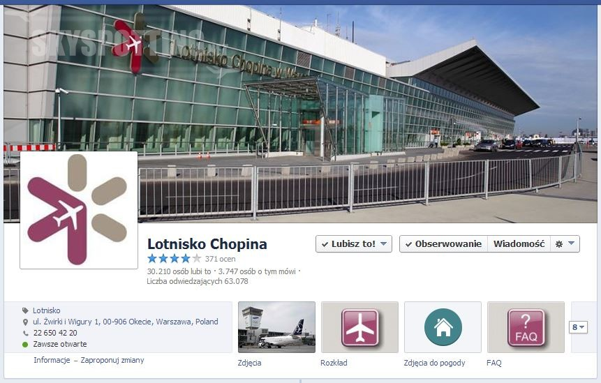 30 tys. fanów Lotniska Chopina na Facebooku