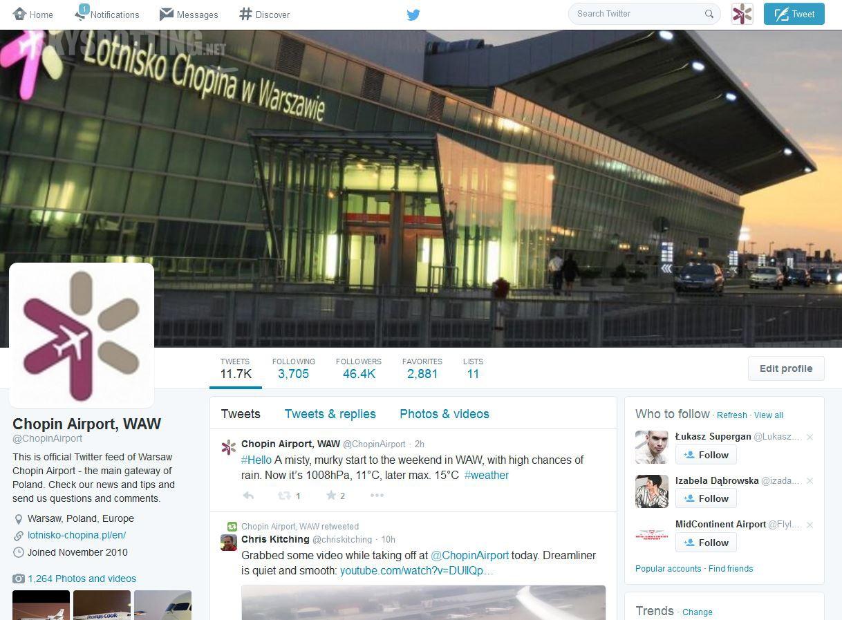 Lotnisko Chopina w czołówce najpopularniejszych polskich marek na Twitterze