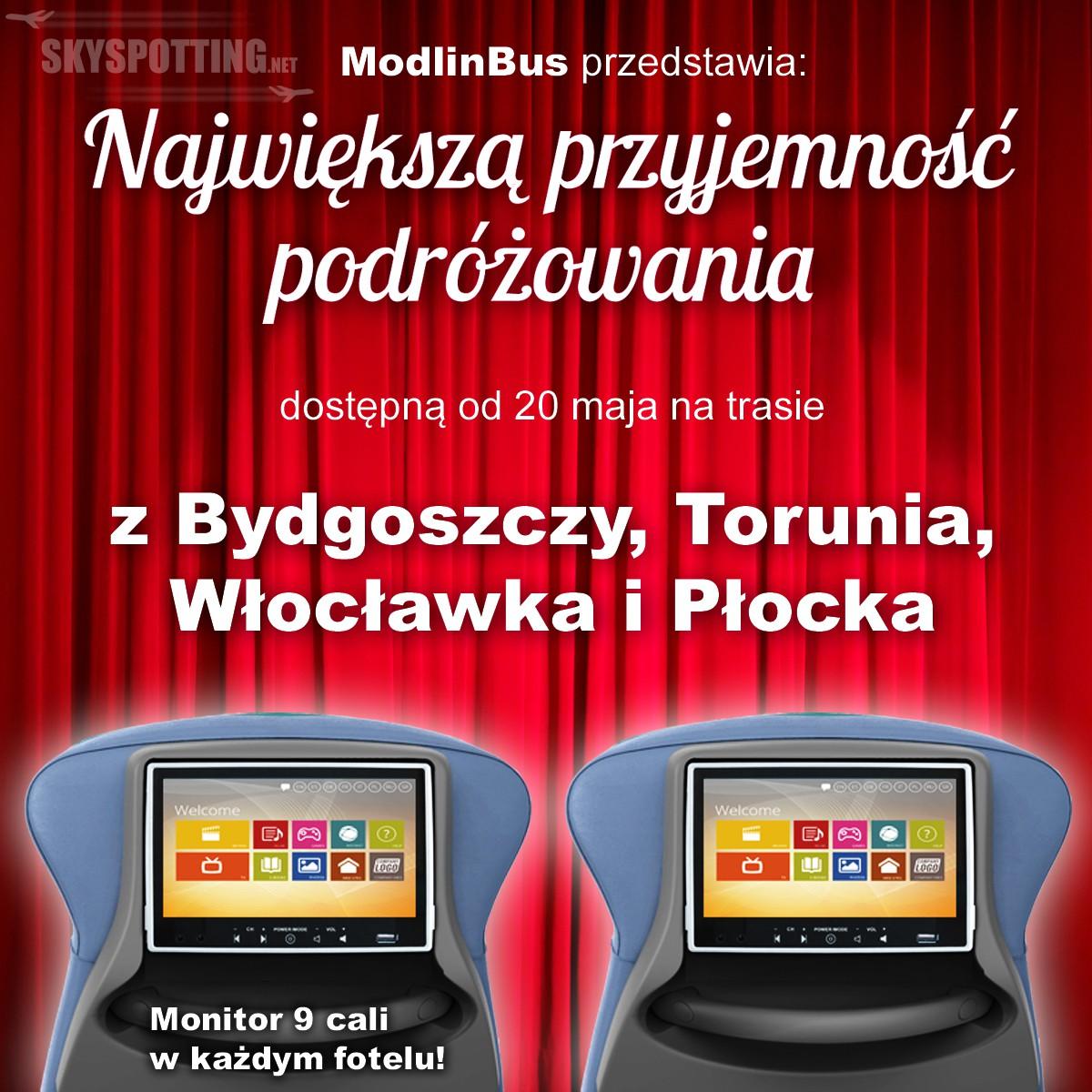Nowa trasa ModlinBus – z Bydgoszczy do Warszawy na lotnisko w Modlinie oraz Okęcie