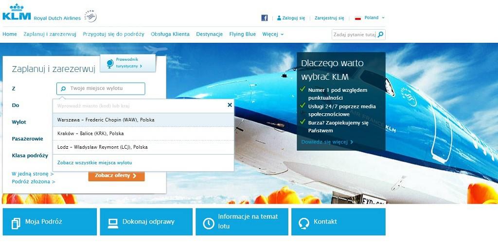Strona KLM w polskiej odsłonie!