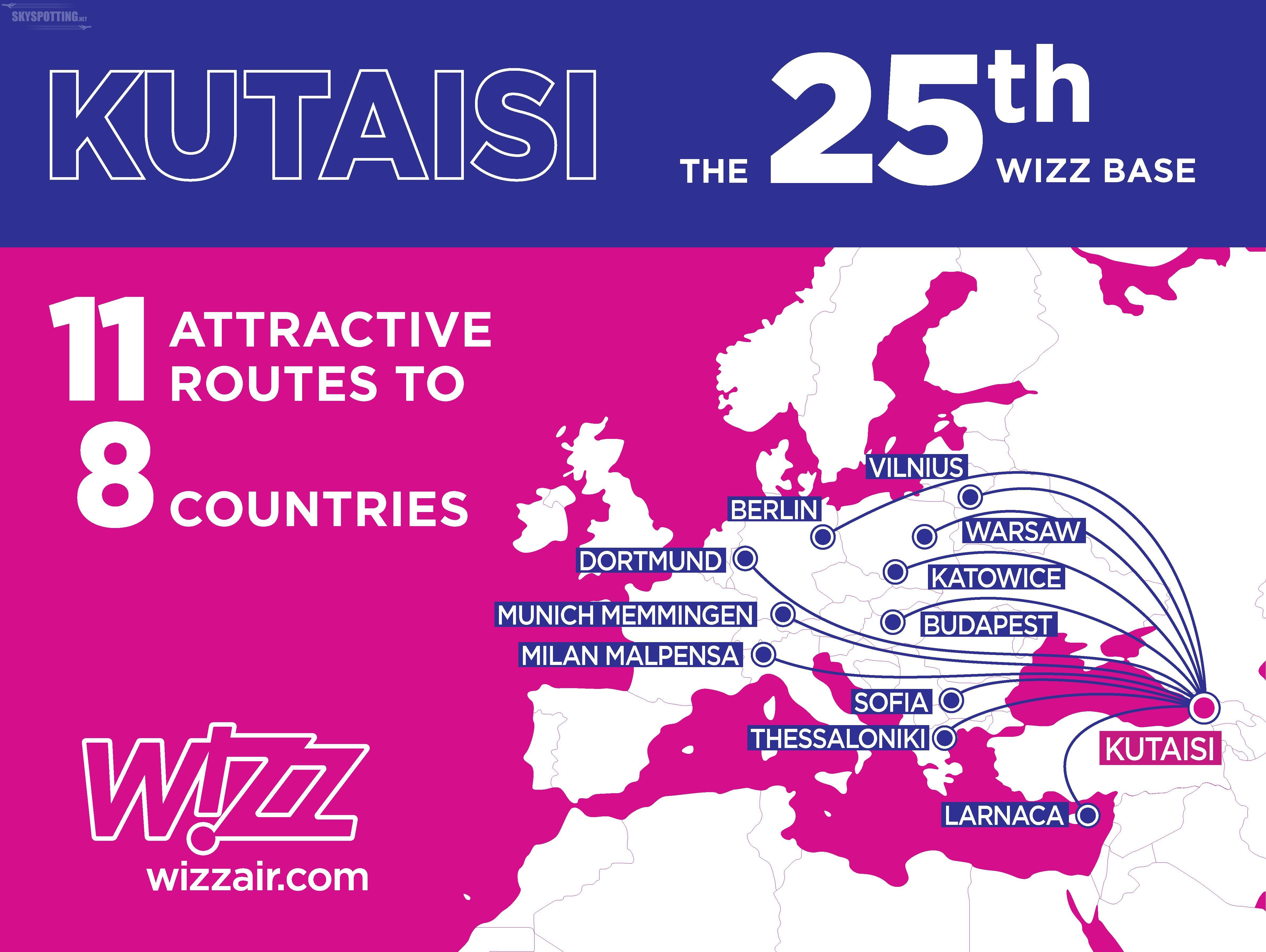 Wizz Air otwiera 25. bazę w Kutaisi w Gruzji. Siedem nowych gruzińskich tras w siatce połączeń Wizz