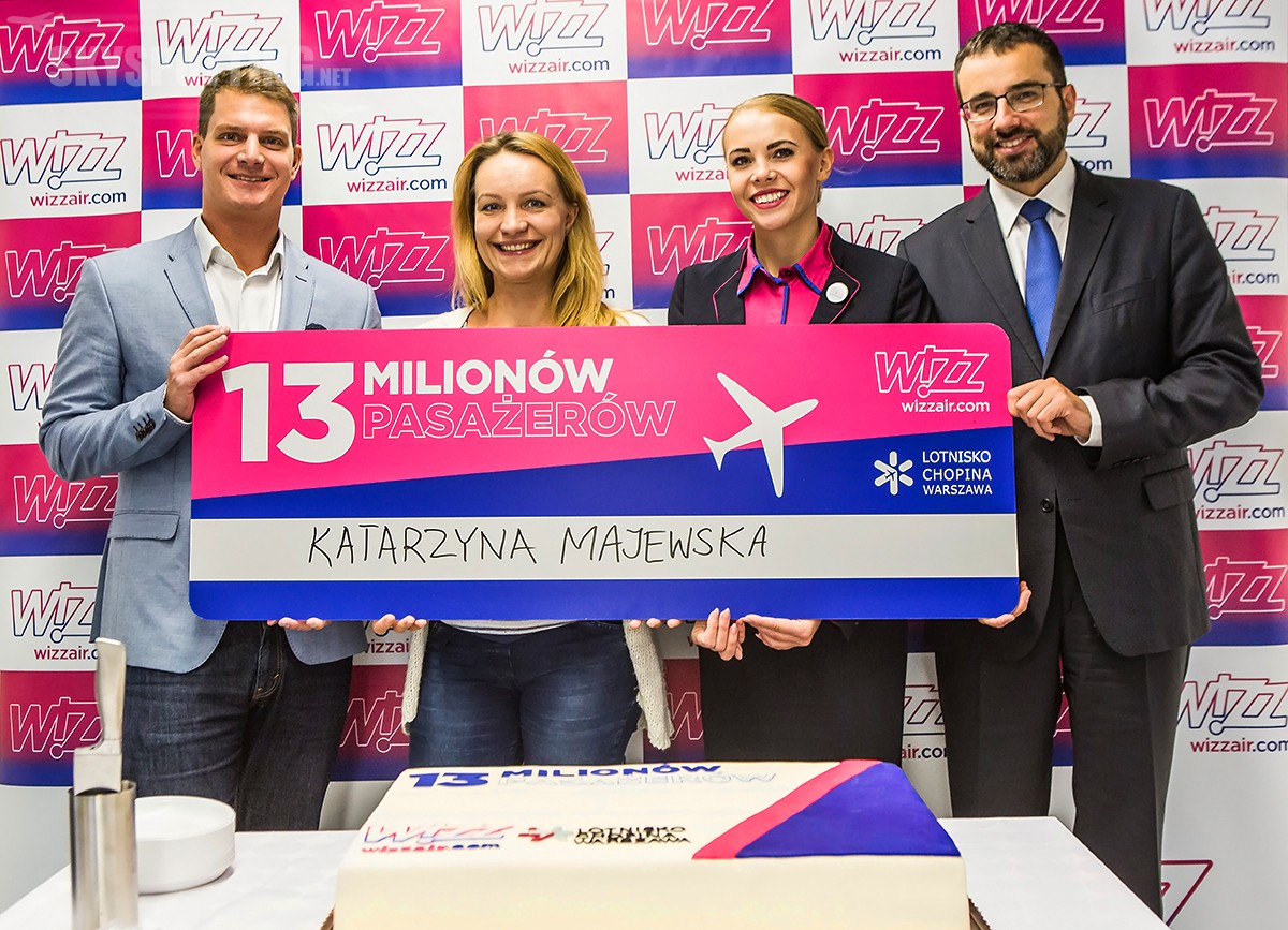 Wizz Air przewiózł 13 milionów pasażerów na lotnisku Chopina w Warszawie