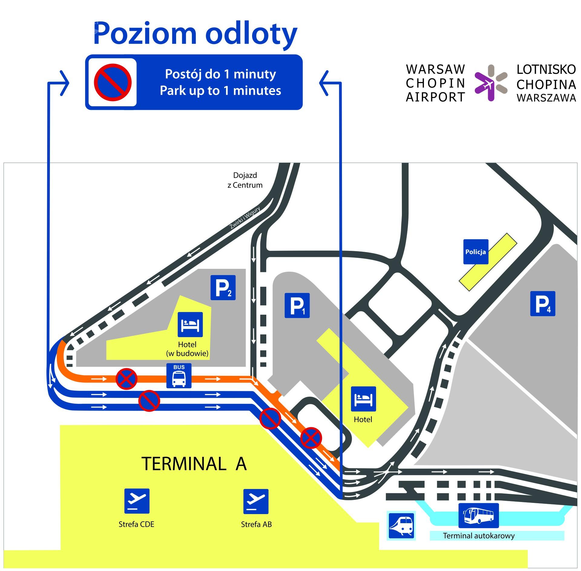 Zmiana organizacji ruchu przed Terminalem A na Lotnisku Chopina