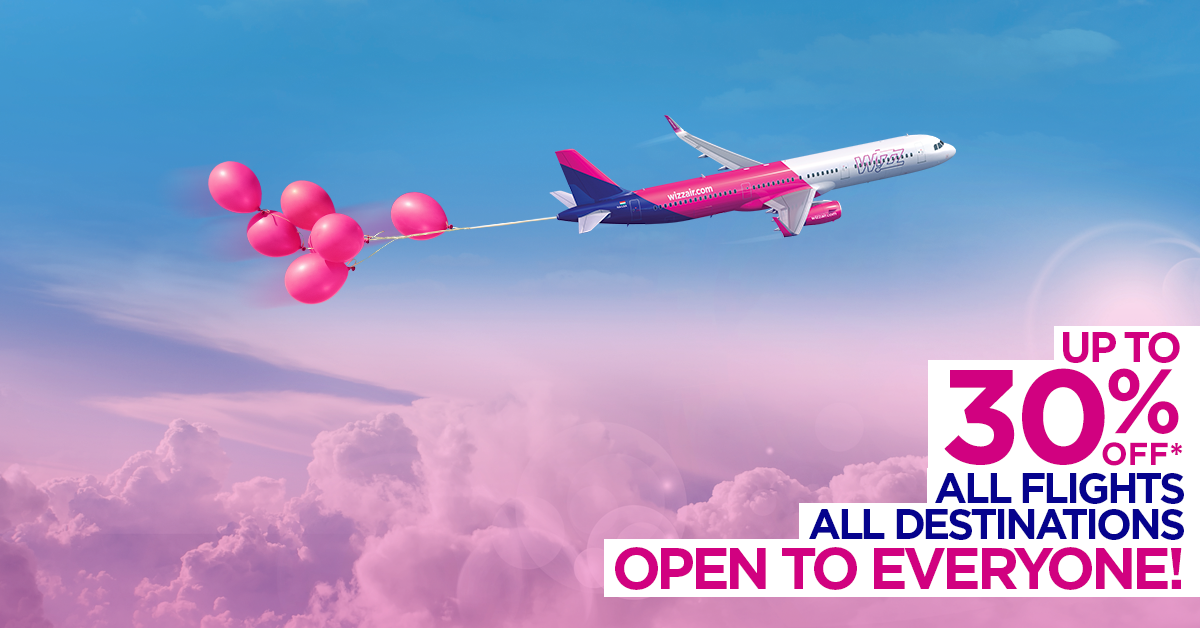 Wizz Air świętuje 14 doskonałych lat  2–dniowa wyprzedaż miejsc – zniżki do 30%*